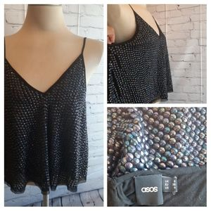 Womens ASOS Black Lined  Sequin Tank Top Festival